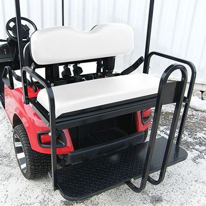 Picture of Rhino 700 Series Super Saver E-Z-Go TXT 1996+ White Cushions Steel Rear Flip Seat Kit