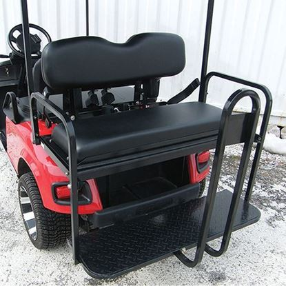 Picture of E-Z-Go TXT 1996+ Black Cushions Aluminum Rear Flip Seat Kit