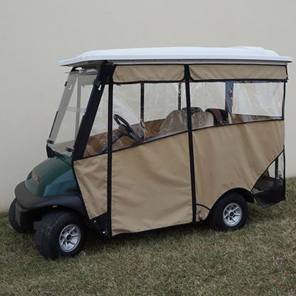 "Picture of Beige Odyssey 3-Sided Enclosure for Club Car Precedent with RHOX 88"" Top"