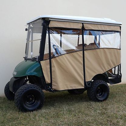 "Picture of Beige Odyssey 3-Sided Enclosure for E-Z-Go RXV with RHOX 88"" Top"