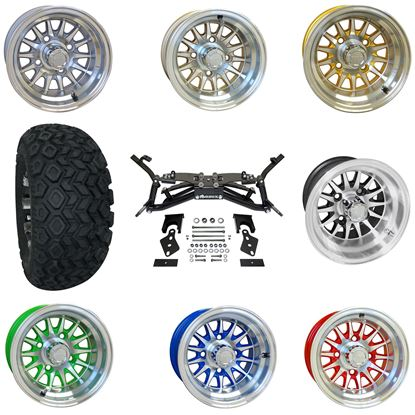 """Picture of Club Car DS 2003.5-2009 6"""" A-Arm BMF Lift Kit, 22x11-10 All Terrain Tires, and Phoenix Wheels - Choose Your Wheel"""