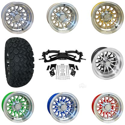 """Picture of Club Car Precedent 6"""" A-Arm BMF Lift Kit, 22x11-10 All Terrain Tires, and Phoenix Wheels - Choose Your Wheel"""
