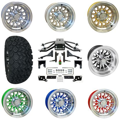 """Picture of Club Car Precedent 6"""" A-Arm Standard Duty Lift Kit, 22x11-10 All Terrain Tires, and Phoenix Wheels - Choose Your Wheel"""