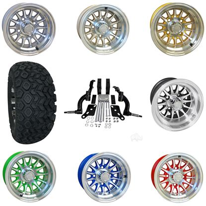 """Picture of Club Car DS 2003.5-2009 6"""" Spindle Lift Kit, 22x11-10 All Terrain Tires, and Phoenix Wheels - Choose Your Wheel"""
