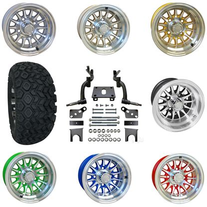 """Picture of Club Car DS 2009-Present 6"""" Spindle Lift Kit, 22x11-10 All Terrain Tires, and Phoenix Wheels - Choose Your Wheel"""