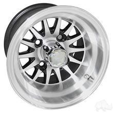 "Picture of Club Car DS Gas 93-03.5 & Electric 84-03.5 6"" Spindle Lift Kit, 22x11-10 RHOX Mojave DOT 4 Ply Tires with Black/Silver Phoenix Wheels"