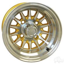 "Picture of Club Car DS Gas 93-03.5 & Electric 84-03.5 6"" Spindle Lift Kit, 22x11-10 RHOX Mojave DOT 4 Ply Tires with Gold/Silver Phoenix Wheels"