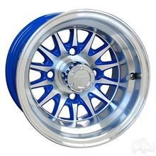 "Picture of Club Car DS Gas 93-03.5 & Electric 84-03.5 6"" Spindle Lift Kit, 22x11-10 RHOX Mojave DOT 4 Ply Tires with Blue/Silver Phoenix Wheels"