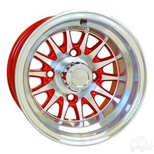 "Picture of Club Car DS Gas 93-03.5 & Electric 84-03.5 6"" Spindle Lift Kit, 22x11-10 RHOX Mojave DOT 4 Ply Tires with Red/Silver Phoenix Wheels"