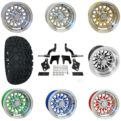 """Picture of Club Car Precedent 6"""" Spindle Lift Kit, 22x11-10 All Terrain Tires, and Phoenix Wheels - Choose Your Wheel"""