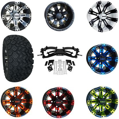 """Picture of Club Car Precedent 6"""" A-Arm BMF Lift Kit, 22x11-10 All Terrain Tires, and Vegas Wheels - Choose Your Wheel"""