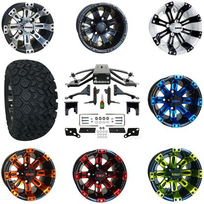 """Picture of Club Car Precedent 6"""" A-Arm Standard Duty Lift Kit, 22x11-10 All Terrain Tires, and Vegas Wheels - Choose Your Wheel"""