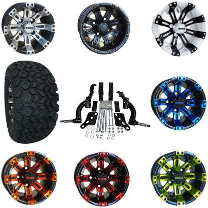 """Picture of Club Car DS 2003.5-2009 6"""" Spindle Lift Kit, 22x11-10 All Terrain Tires, and Vegas Wheels - Choose Your Wheel"""