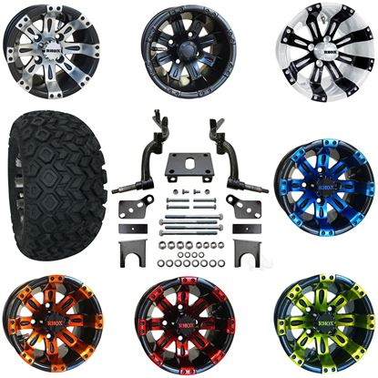 """Picture of Club Car DS 2009-Up 6"""" Spindle Lift Kit, 22x11-10 All Terrain Tires, and Vegas Wheels - Choose Your Wheel"""