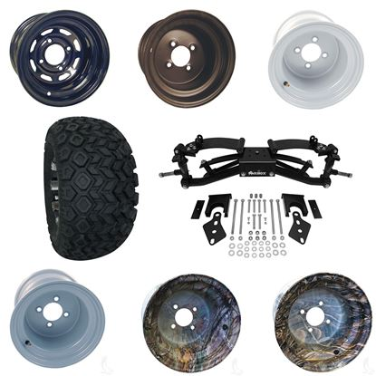 """Picture of Club Car Precedent 6"""" A-Arm BMF Lift Kit, 22x11-10 All Terrain Tires, and Steel Wheels - Choose Your Wheel"""