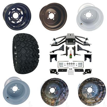 """Picture of Club Car Precedent 6"""" A-Arm Standard Duty Lift Kit, 22x11-10 All Terrain Tires, and Steel Wheels - Choose Your Wheel"""