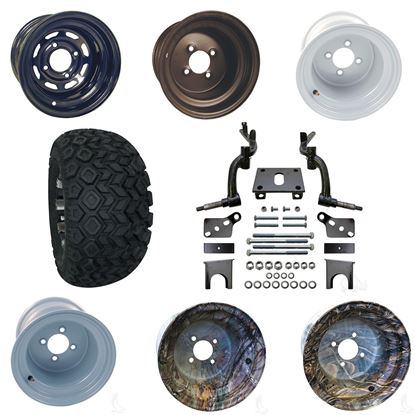 """Picture of Club Car DS 2009-Up 6"""" Spindle Lift Kit, 22x11-10 All Terrain Tires, and Steel Wheels - Choose Your Wheel"""