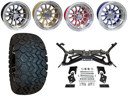 """Picture of Club Car DS 2003.5-2009 6"""" A-Arm BMF Lift Kit, 22x10.5-12 All Terrain Tires, and Phoenix Wheels - Choose Your Wheel"""