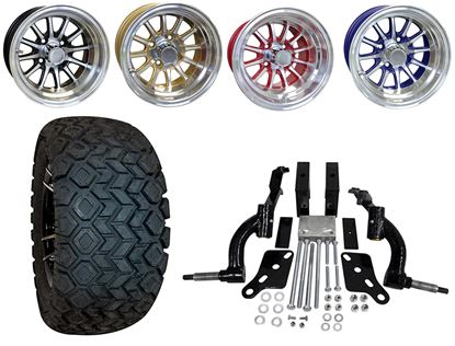 """Picture of Club Car DS 2003.5-2009 6"""" Spindle Lift Kit, 22x10.5-12 All Terrain Tires, and Phoenix Wheels - Choose Your Wheel"""