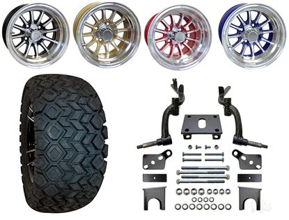 """Picture of Club Car DS 2009-Up 6"""" Spindle Lift Kit, 22x10.5-12 All Terrain Tires, and Phoenix Wheels - Choose Your Wheel"""