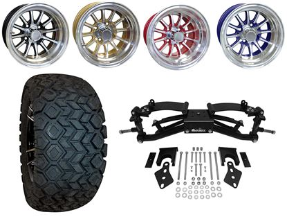 """Picture of Club Car Precedent 6"""" A-Arm BMF Lift Kit, 22x10.5-12 All Terrain Tires, and Phoenix Wheels - Choose Your Wheel"""