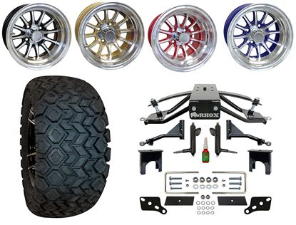 """Picture of Club Car Precedent 6"""" A-Arm Standard Duty Lift Kit, 22x10.5-12 All Terrain Tires, and Phoenix Wheels - Choose Your Wheel"""