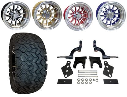 """Picture of Club Car Precedent 6"""" Spindle Lift Kit, 22x10.5-12 All Terrain Tires, and Phoenix Wheels - Choose Your Wheel"""