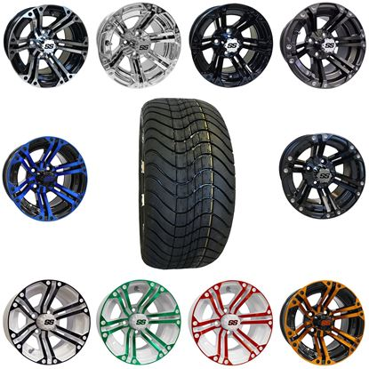 "Picture of 12"" Non-Lifted Combo: 215x40.5-12 Low Profile Tires, and 6 Split-Spoke Wheels - Choose Your Wheel"