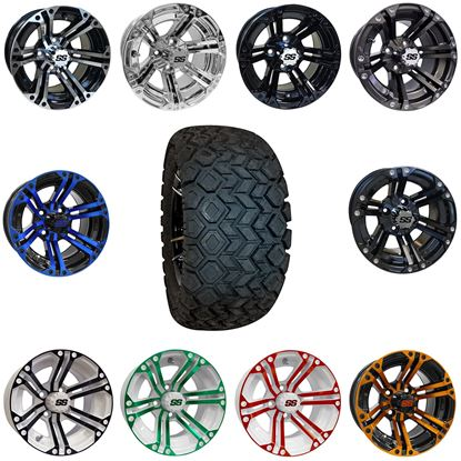 "Picture of 12"" Lifted Combo: 22x10.5-12 All Terrain Tires, and 6 Split-Spoke Wheels - Choose Your Wheel"