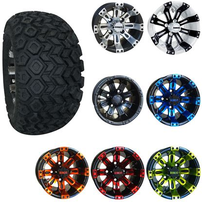 "Picture of 10"" Lifted Combo: 22x11-10 All Terrain Tires, and RHOX Vegas Wheels - Choose Your Wheel"