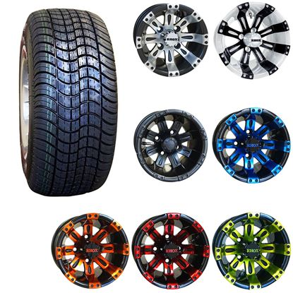 "Picture of 10"" Non-Lifted Combo: 205/50-10 Low Profile Tires, and RHOX Vegas Wheels - Choose Your Wheel"
