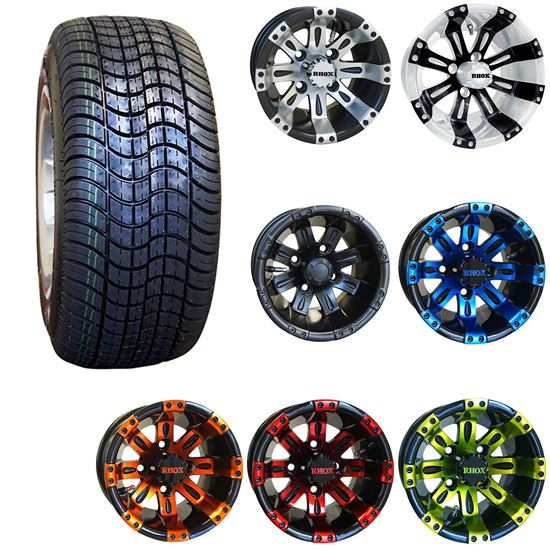 """Picture of 10"""" Non-Lifted Combo: 205/50-10 Low Profile Tires, and RHOX Vegas Wheels - Choose Your Wheel"""