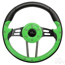 "Picture of Lime Green Aviator 4 - 13"" Steering Wheel and EZGO Stainless Adapter"