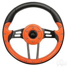 "Picture of Orange Aviator 4 - 13"" Steering Wheel and EZGO Stainless Adapter"