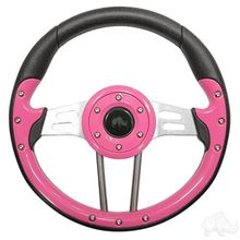 "Picture of Pink Aviator 4 - 13"" Steering Wheel and EZGO Stainless Adapter"