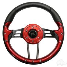 "Picture of Red Aviator 4 - 13"" Steering Wheel and EZGO Stainless Adapter"