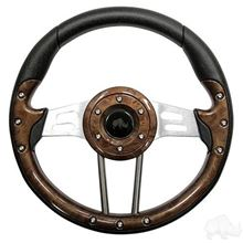 "Picture of Woodgrain Aviator 4 - 13"" Steering Wheel and EZGO Stainless Adapter"