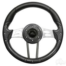 "Picture of Carbon Fiber Aviator 4 - 13"" Steering Wheel and EZGO Stainless Adapter"