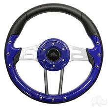 "Picture of Blue Aviator 4 - 13"" Steering Wheel and EZGO Stainless Adapter"