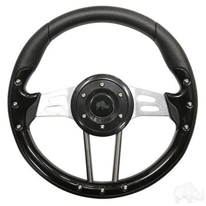 """Picture of Black Aviator 4 - 13"""" Steering Wheel and EZGO Stainless Adapter"""