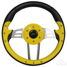 "Picture of Yellow Aviator 4 - 13"" Steering Wheel and EZGO Stainless Adapter"