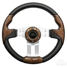"Picture of Woodgrain Aviator 5 - 13"" Steering Wheel and EZGO Stainless Adapter"