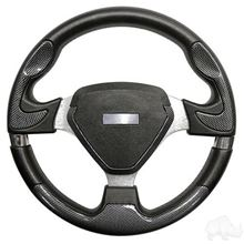 "Picture of Carbon Fiber Bonneville - 13"" Steering Wheel and EZGO Stainless Adapter"