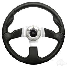 "Picture of Black & Silver Formula GT - 13"" Steering Wheel and EZGO Stainless Adapter"
