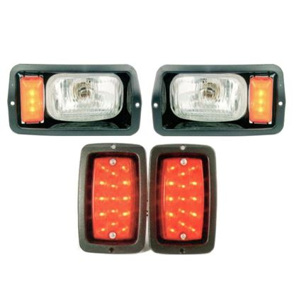 Picture of Light Kit with LED Turn Signal Markers & Taillights, Black Bezels, for Club Car DS 1982-1992 Old Style Body