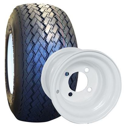 "Picture of Tire/Wheel Assembly, RHOX Golf DOT Tire Mounted on 8"" Steel White Wheel"