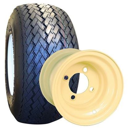 "Picture of Tire/Wheel Assembly, RHOX Golf DOT Tire Mounted on 8"" Steel Beige Wheel"