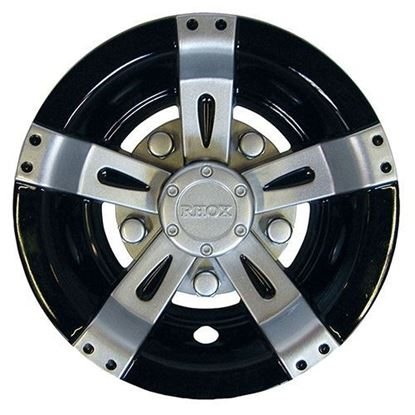 "Picture of 8"" RHOX Vegas Silver Metallic and Black Wheel Cover"