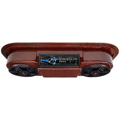"Picture of Assembled, Woodgrain Console with Dual AM/FM/CD Receiver, 5.25"" Speakers & Antenna"