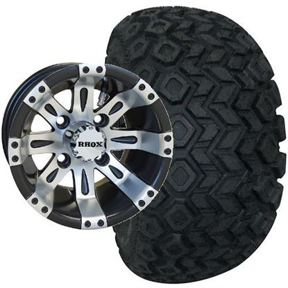 Picture of Lifted, Set of (4) Tire & Wheel Combo: RHOX Mojave DOT 22x11-10 and RHOX Vegas 10x7 Matte Black/Machined Silver Wheel